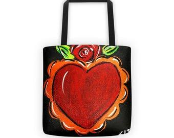 Heart Tote Bag, Folk Art Tote