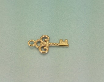 Small Rose Gold Key Charm. Tiny 13mm Rose Gold Vermeil Key Charm. Perfect for a Birthday Necklace.