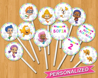 Bubble Guppies Cupcake Toppers, Bubble Guppies Cupcakes Topper, Bubble Guppies Printable, Personalized, Digital File