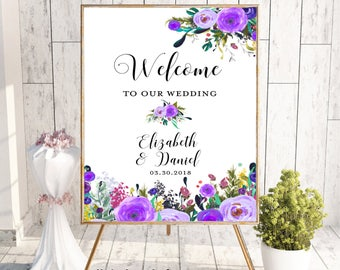 Welcome To Our Wedding, Welcome Wedding Sign, Printable Welcome Sign, Digital Sign, Custom Welcome Sign, Floral, Boho Chic Wedding, Digital