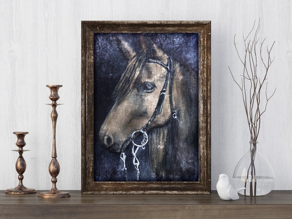 Horse Portrait Wall Art Print from an original watercolour painting by Corinne Dany / equine / horse / rustic / textured