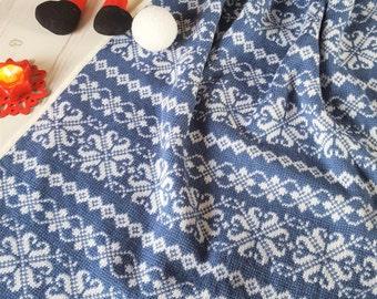 "Christmas/ Fair Isle Blanket/ Winter Blanket/ Baby Pram Blanket 26""x 41"""