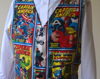 Boys Waistcoat made with Captain America comic book covers fabric; matching Bowtie available