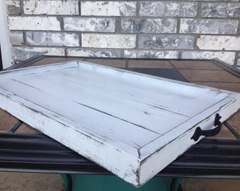 Rustic distressed white serving tray/ rustic ottoman tray/ rustic centerpiece tray