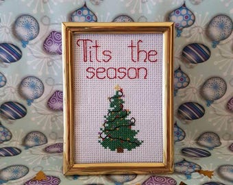 Tits the Season framed cross stitch Christmas cheer