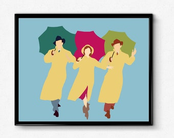 Singing In the Rain Poster- Debbie Reynolds Poster, Minimalist Movie Print, Movie Poster