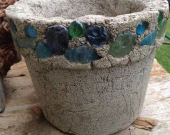 Med. Sized Hypertufa Flower/Garden Pot/Planter with Blue and Green Beach Glass & Marbles