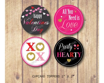 Valentine's Day Cupcake Toppers; XOXO toppers; Red, Pink, Black, Grey Cupcake Toppers