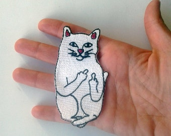 Darkside2(p) Middle finger cat I do what I want Embroidered patch