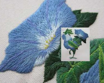 Bleu coq, hand embroidery, needle painting