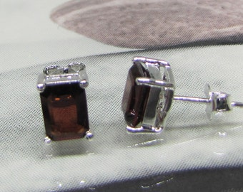 Earrings silver studs and square garnets. Garnet Earrings. Stud earrings. Red earrings