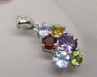 Pendant silver Amethyst Citrine Garnet Topaz and Peridot. 25% with code: SOLD17