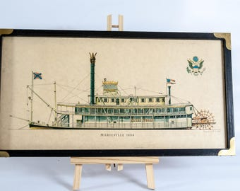 Marieville 1884, Vintage ship wall art, framed litograph reprint, framed ship picture, ready to hang, litograph ship wall, naval art, Muth