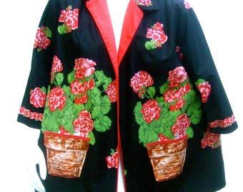 Whimsical Cotton Flower Print Jacket c 1960s