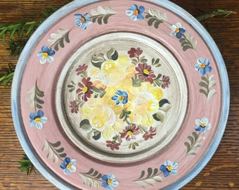 Pretty In Pink Bavarian Folk Art Tole Hand Painted Vintage Wooden Plate Bauernmalerei Floral Design Traditional Country Home Decor