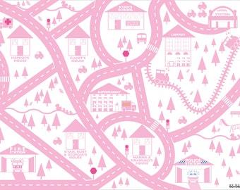 Pink personalised city car mat