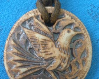 Carved Bird Pendant/ Ceramic Bird Pendant/  Carved Bird in Flight/ Bird of Paradise/ Boho Necklace Pendant/ Ceramic Bird Medallion CP101