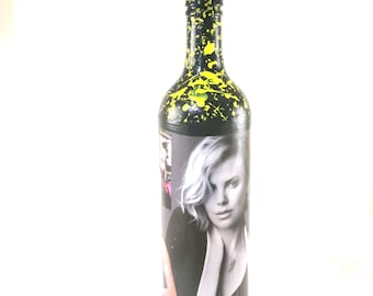 Charlize Theron, Unique & Inspired, decoupage bottle, gifts for men, gifts for women, movie gifts, gift for her