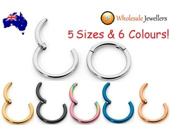 1pr 16G Hypoallergenic 316L Surgical Steel 6mm - 13mm Sleepers Hinged Hoop Earrings Segment Rings