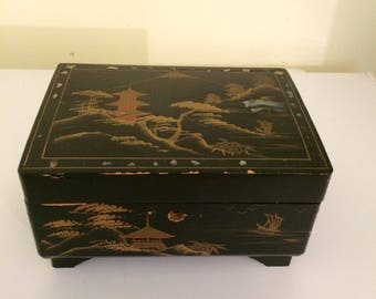 Vintage Asian lacquer jewelry box, music box, black lacquer box, jewelry holder, decorative box
