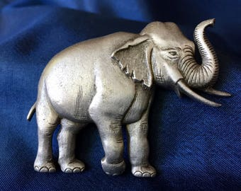 JJ Jonette Pewter Elephant Brooch, JJ Pewter Brooch, Elephant Brooch, Elephant Pin