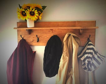 Rustic Coat Hanger with Shelf