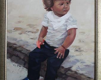Child Portrait,Oil Portrait Of Kids,Custom Portrait, Еthnic мotive,Portrait By Order,From Picture,Portrait For Gift,Oil On Canvas