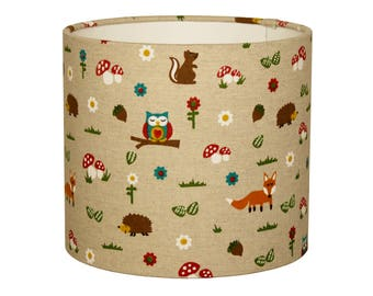 Lampshade woodland animals/ fox / owl / hedgehog / squirrel / woodpecker