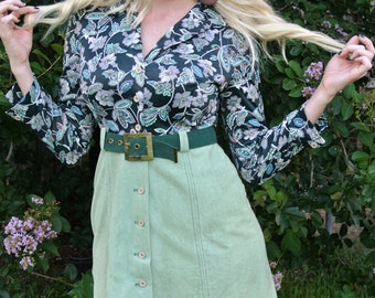 60s Flower Power Hippie Long Sleeve Collard Button MOD Floral and Corduroy Mini Dress with Belt