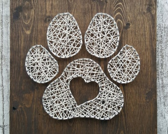 Paw Print Heart String Art