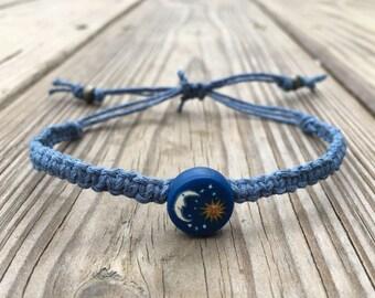 Moon and sun, adjustable hemp bracelet.