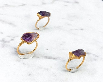 Raw Amethyst Ring, Yellow Gold Natural Amethyst Ring, Bohemian Ring, Pink Amethyst, Raw Stone Ring, Raw Crystal Ring, Rough Amethyst Ombre