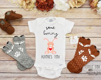 Easter Onesie®, Bunny Shirt, Easter Baby,  Baby Girl Clothes, Little Doe Shirt, Boho Baby Clothes, Cute Baby Onesie®, First Easter Girl
