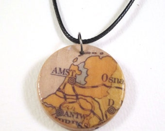 Necklace - wooden world map