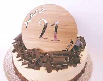 Age (NUMBER) Wood Cake Topper -21st-1st-50th-18th-30th-405h-plaque-wooden-bamboo