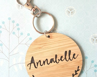 Bag Tag / Keyring Wood Bamboo Personalised Custom With Sprigs