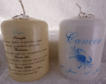3 Inch - Zodiac Candle with Strengths, Weaknesses, Like & Dislikes - Cancer