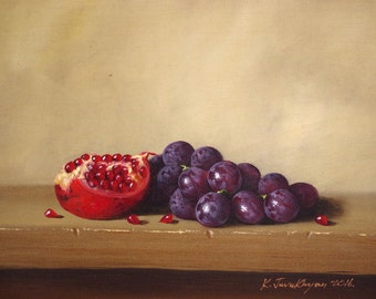 Still Life oil Painting, Fruits, Grapes, Original Handmade art, Classic art, Painting, One of a Kind