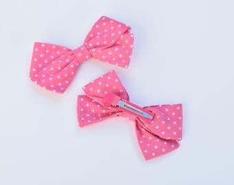 Pink Polka Dot Bow SET OF 2, Fabric bows