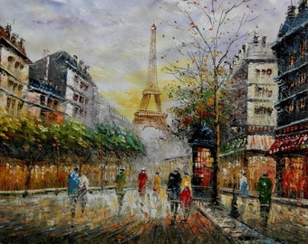 Handcraft Oil painting Paris Street Scene & Eiffel Tower canvas Wall Decor Home Bedroom Paintings