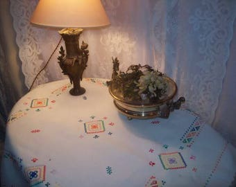 charming small ancient embroidered tablecloth