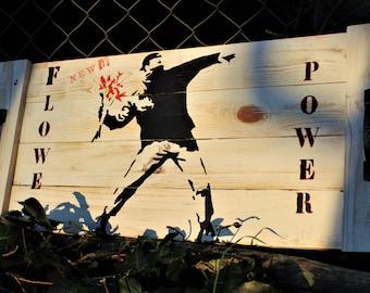 Plateau fait main - Palettes recyclées - Pochoir Banksy