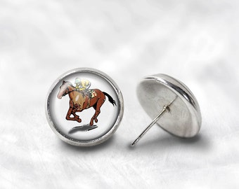 Jockey Earrings - Horse Jockey Earrings - Horse Racing Earrings - Jockey Jewelry for Her (Pair) Lifetime Guarantee (E0499)
