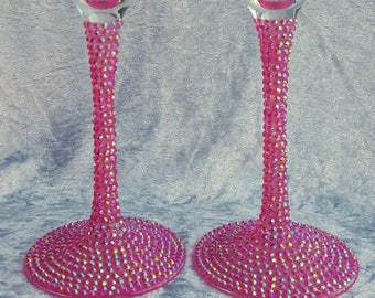 Sparkly Champagne Glasses, Decorated wine glass, Champagne flutes
