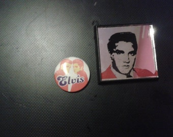 2 x Vintage Elvis Presley Badges