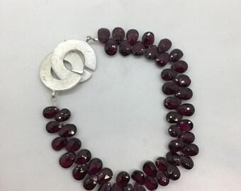 Briolette Garnet Beaded Bracelet