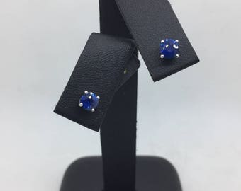 Sapphire and White Gold Studs