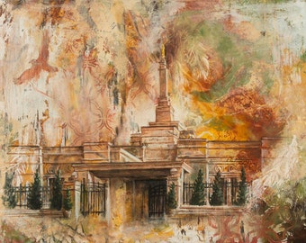 NEW! Oklahoma City Temple LDS Mormon Temple Art.  Beautiful and Unique Canvas Print for your Home or as a Gift!