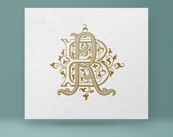 Vintage monogram BR - RB | Wedding Monogram