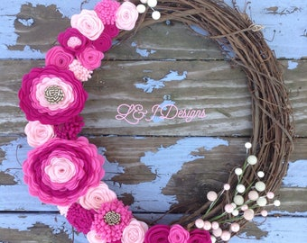 "Pretty In Pink Felt Floral Wreath  16"" Grapevine Wreath"